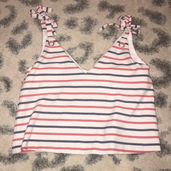 Zara Tops - red white & blue striped blouse